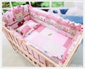 Promotion! 6pcs Pink 100% Cotton Newborn Bebe Baby Crib Bedding Sets Kit Protection Bumper,include (bumpers+sheet+pillow cover)