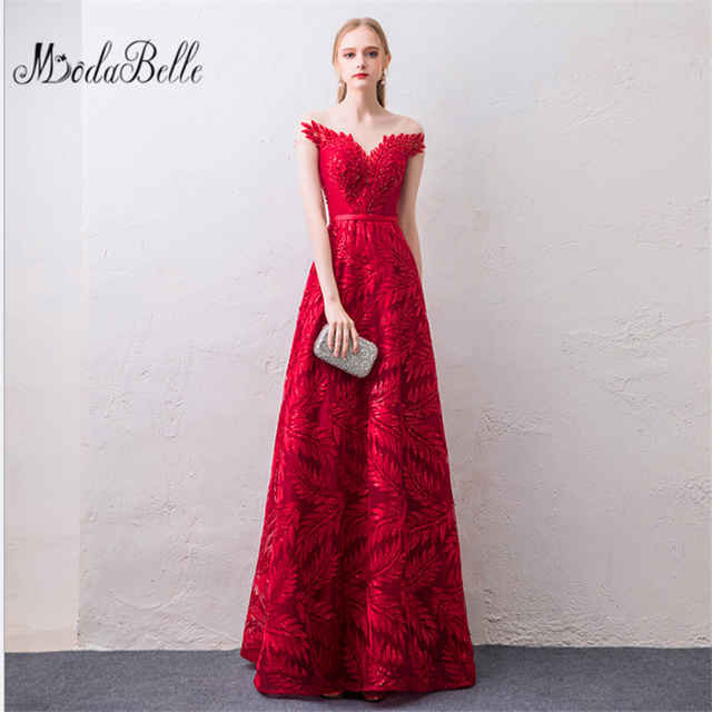 Modabelle Elegant Red O-Neck Sleeveless Backless Lace Up Embroidery Formal  Dresses Floor Length Evening 8fc14fc41390