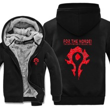 New Winter Warm WOW Hoodie Game Dota 2 Coat ALLIANCE&Horde Jacket Coat Men Thick Fleece Zipper Luminous WOW Sweatshirts