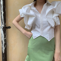 2019 Summer Fashion Lapel Collar Short Sleeve Ruffles Irregular Hem Shirt Tops
