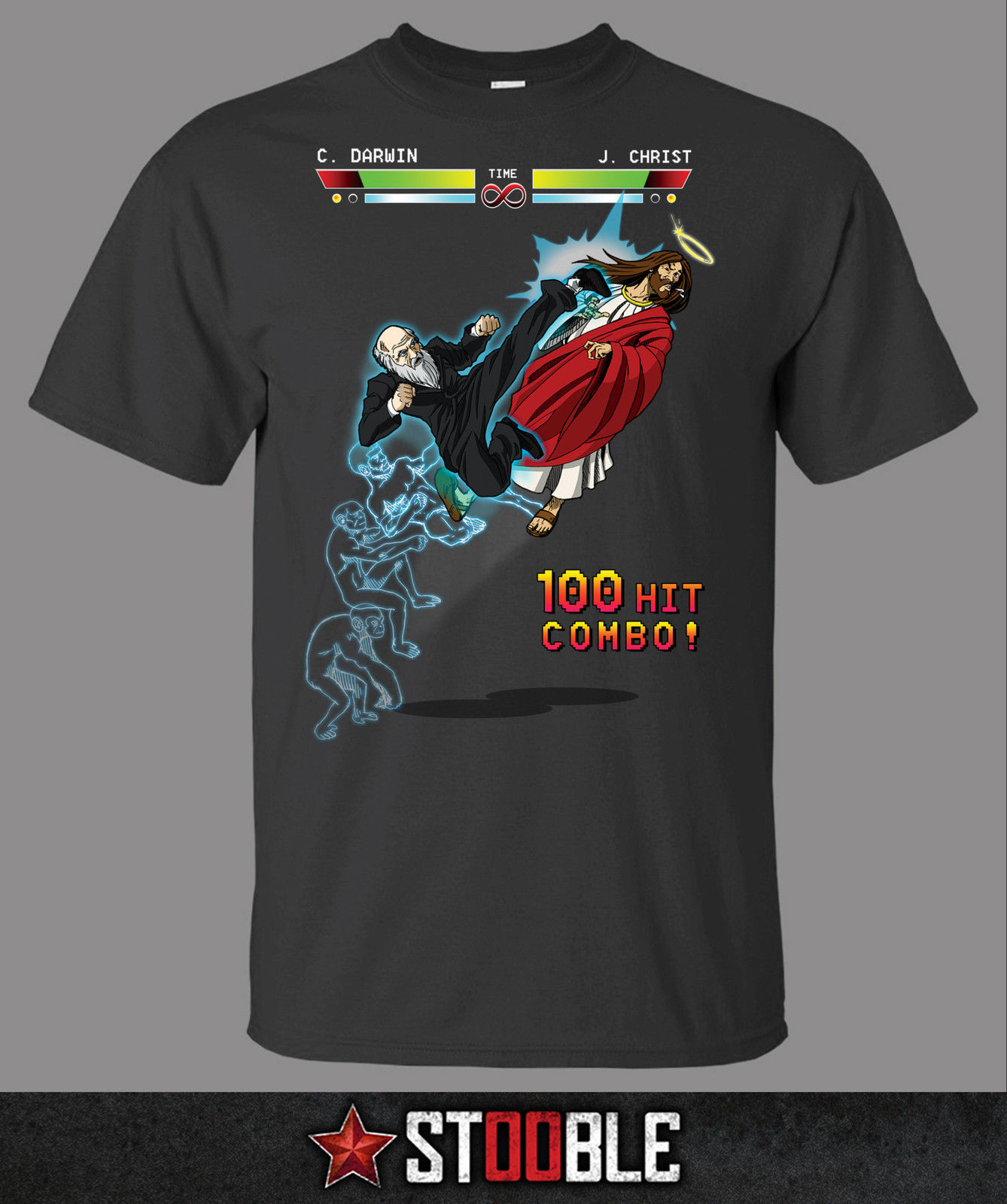 Jesus vs Darwin T Shirt Direct from Stockist New T Shirts Funny Tops Tee New Unisex Funny Tops Fashion Summer Paried Tshirts in T Shirts from Men 39 s Clothing