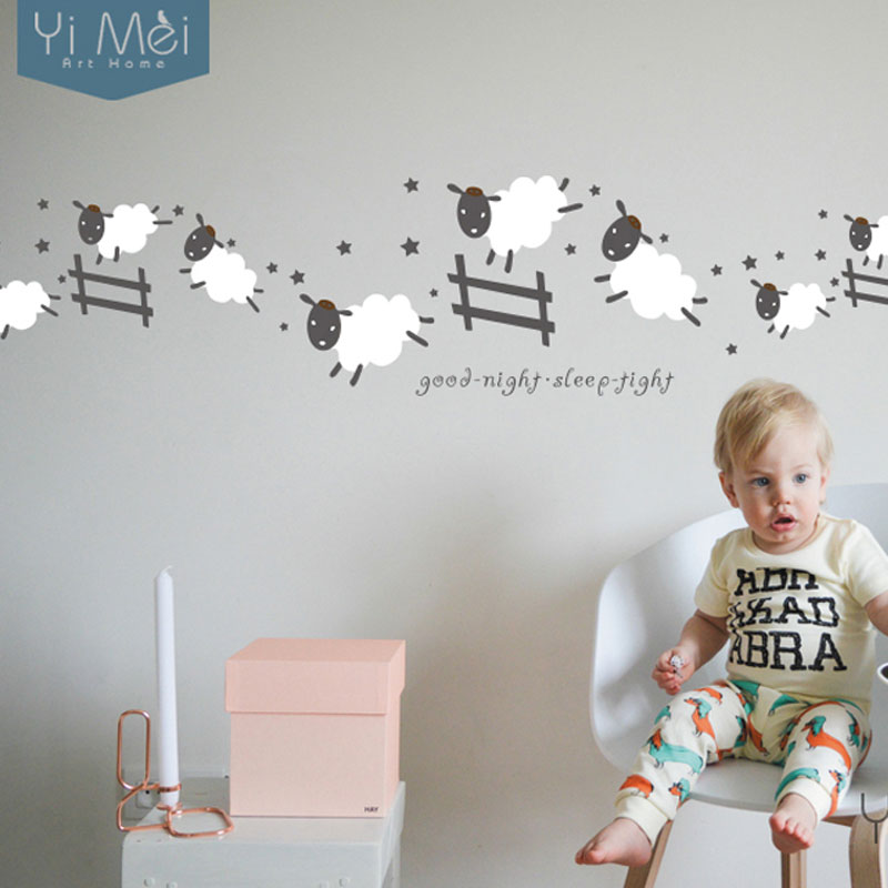 Cartoon Cute Jumping Sheep Fence Wallpaper Removable Wall Stickers