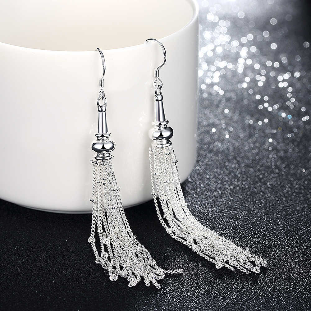 New Romantic Noble Long Earrings  Fashion Silver Color Multi LIne Link Chain Round Ball Tassel Earrings for Women Best Gift
