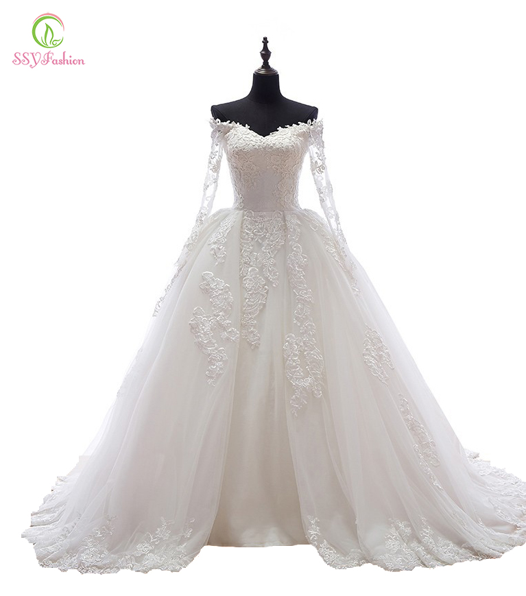 SSYFashion New Wedding Dress The Bride Married White Lace Long Sleeved Long Traing Luxury Wedding Gown