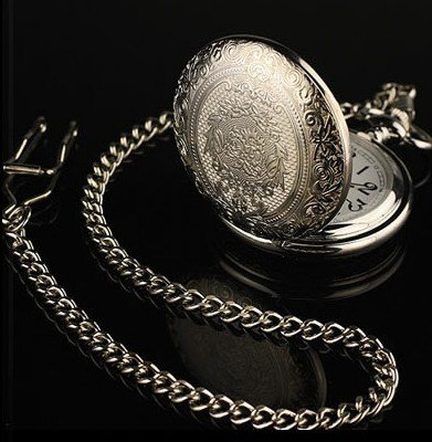 New Silver Engrave Men's Quartz Pocket Watch Chain