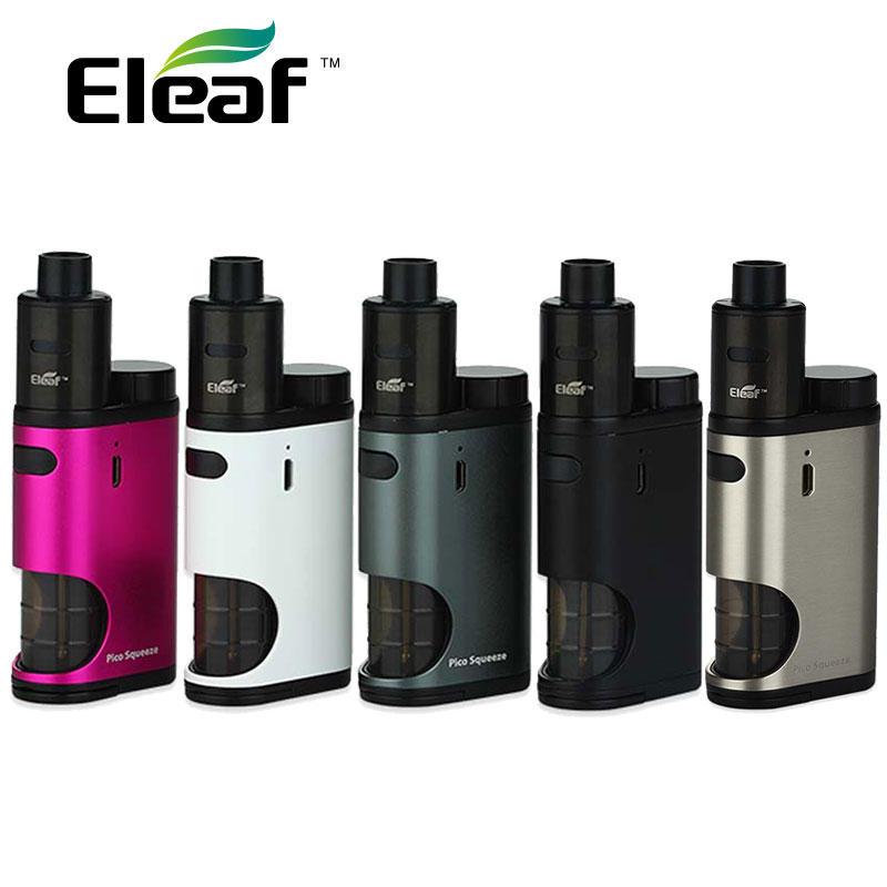 цена 100% Original Eleaf Pico Squeeze With Coral Starter Kit 50W Pico Squeeze Mod & Coral RDA Atomizer With Reimagined Squonk System