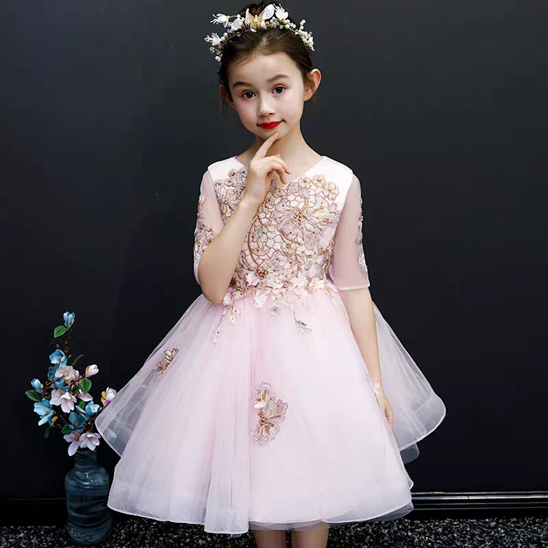 High Quality Children Baby Sweet Nice Pink Color Embroidery Flowers Birthday Wedding Party Dress Infant Girls Host Piano DressHigh Quality Children Baby Sweet Nice Pink Color Embroidery Flowers Birthday Wedding Party Dress Infant Girls Host Piano Dress