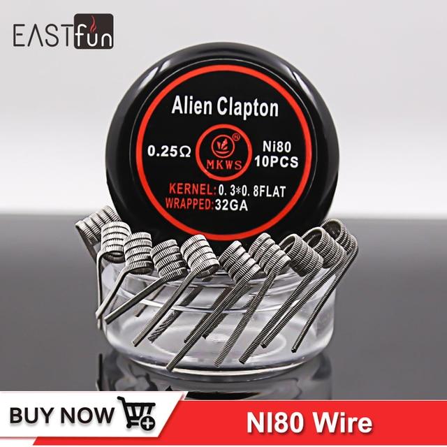 10 stücke Flache twisted coil 0.3ohm ni80 flache clapton draht 0.6 ...