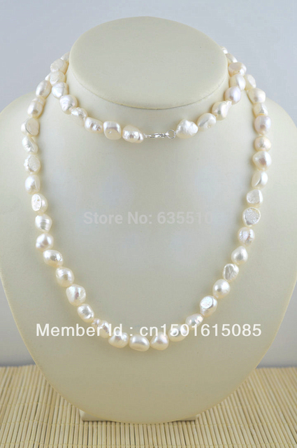 """Fresh Water Pearl Baroque Beads Necklace 925 Sterling Silver Lobster Clasp 32"""" Lenght Free Shipping ONE PIECE"""