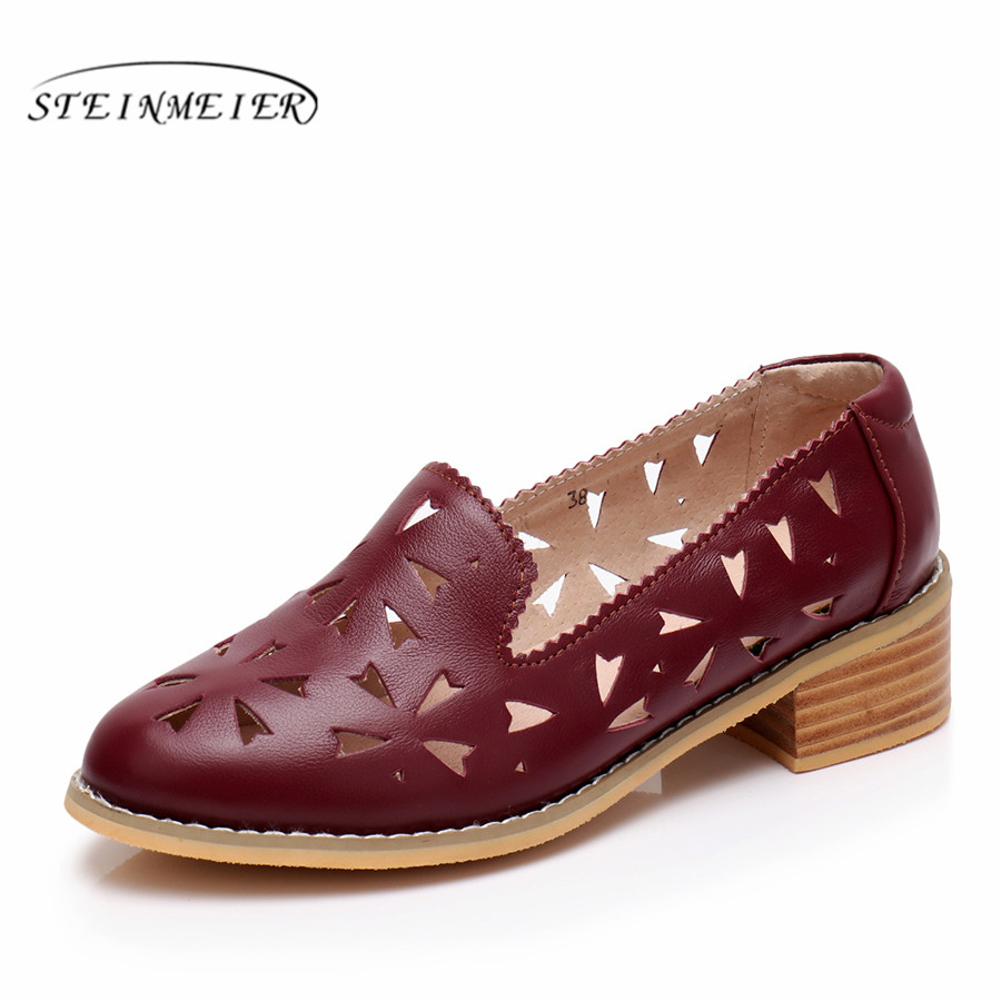 Genuine cow Leather brogues flats sandals woman shoes round toe handmade oxfords shoes for women 2018 red blue beige yellow цены онлайн