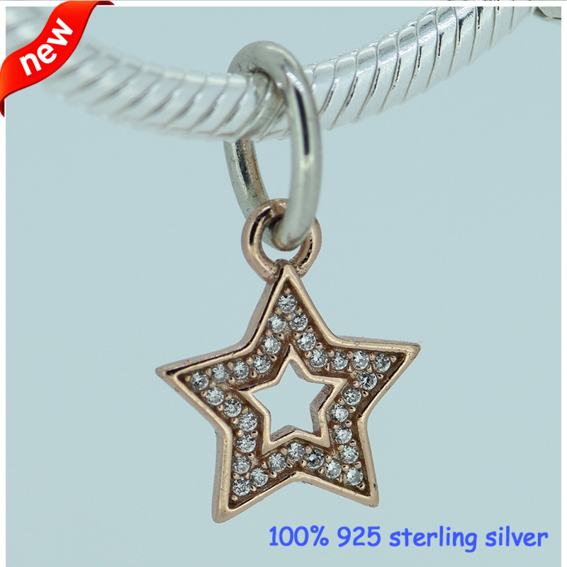 Fits Silver Charm Bracelet Authentic 925 Sterling Silver Beads Star Dangle Charms Beads Women DIY Jewelry For Choker Necklace