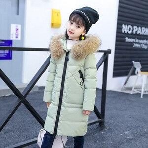 Image 3 -  30 derece kız giyim sıcak aşağı ceket kız elbise 2020 kış kalınlaşmak Parka gerçek kürk kapşonlu çocuk giyim mont
