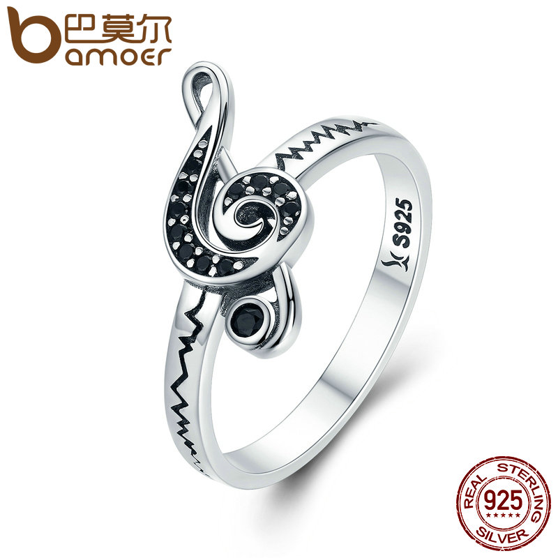 BAMOER Authentic 100% 925 Sterling Silver Dancing Melody Black Women Ring Female Anniversary Engagement Jewelry SCR200