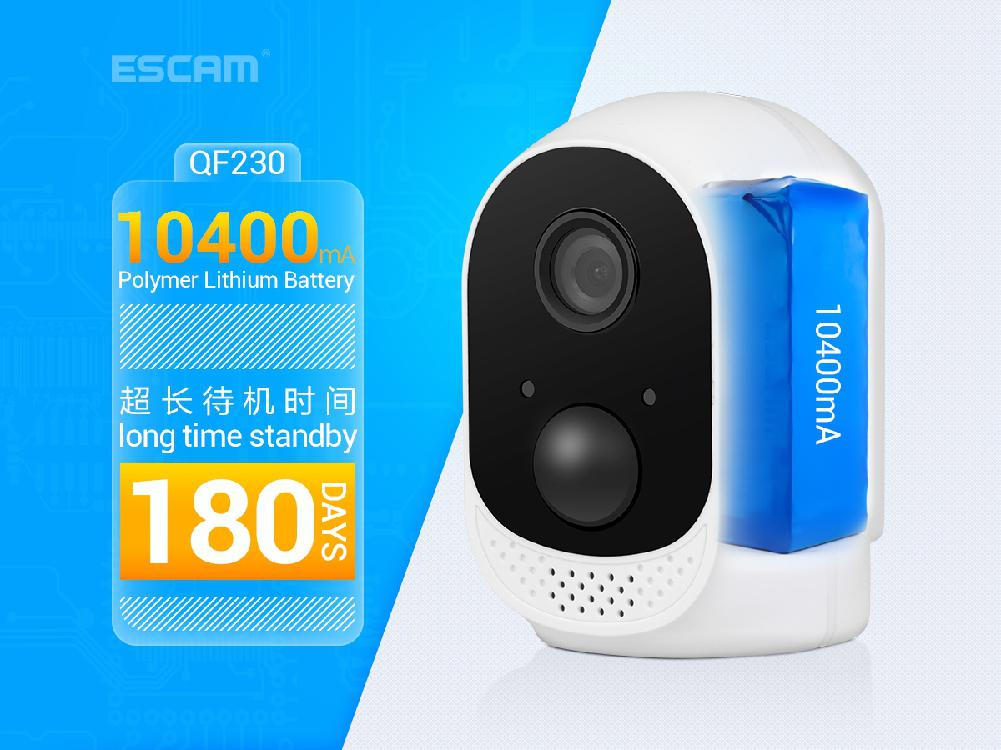 ESCAM QF230 HD 1080P 2MP Security IP Camera P2P WIFI PIR Alarm Surveillance Night Vision CCTV Cameras with 10400mAh Battery