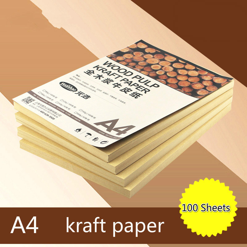 Full Wood Pulp Kraft Copy Paper 120/150/180g A4 Cover Paper Yellow Retro Packaging Paper Printing Paper 100 Sheets/pack