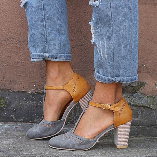 גבירותיי 2019 קיץ עקב גבוה סנדלי נעלי נשים האופנה רומא עגול הבוהן אבזם רצועת סנדלי העקב עבה נעלי Zapatos דה mujer