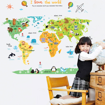 Cartoon world map PVC DIY Self Adhesive Vinyl Wall Stickers Bedroom Home Decor for Children Room Decoration Art Wall Decal Mural 1