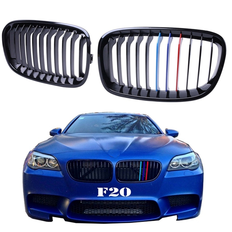 ФОТО 2x Front Grilles Kidney Grill For BMW F20 F21 114i 118i 120i 125i 2010 - 2014 M Performance in Gloss Black M colored #9184