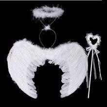 3 шт./компл. прекрасное платье для причастия белого цвета/декором из черных перьев «Крылья Ангела», с головной повязкой, Головные уборы для Праздник День Рождения Вечеринка для художественного оформления ногтей, ручная работа