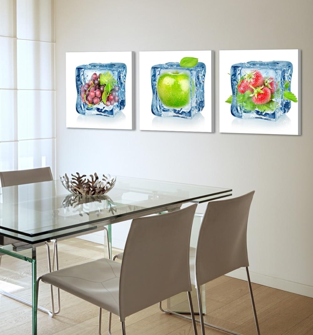 8d9e13928d93 Tres frutas impresión en lienzo de algodón pintura en la pared para  decoración de sala