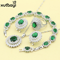 XUTAAYI Fashion 925 Silver Color Jewelry Sets For women Green Imitated Emerald Alluring Wedding Necklace/Rings/Earrings/Bracelet
