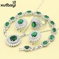 XUTAAYI Moda 925 Conjuntos de Jóias de Cor Prata Para as mulheres Imitado Verde Esmeralda Sedutor Casamento Colar/Anéis/Brincos/pulseira