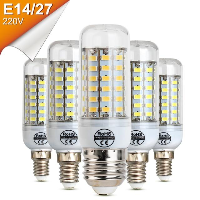 LED Bulbs 220V E27 E14 Lamp Bulb Led Brightness 24 36 48 56 69LEDs Lampada Bulb Christmas Chandelier Light High Bright E27 LEDs