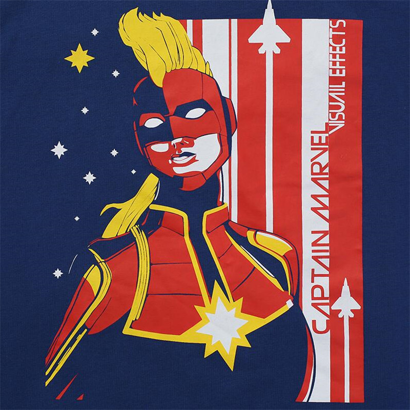 Hot New Captain Marvel Tees Cosplay Costumes Men Women S H I E L D Chief Same Style T Shirt Navy Blue Cotton Printing Tops in T Shirts from Men 39 s Clothing