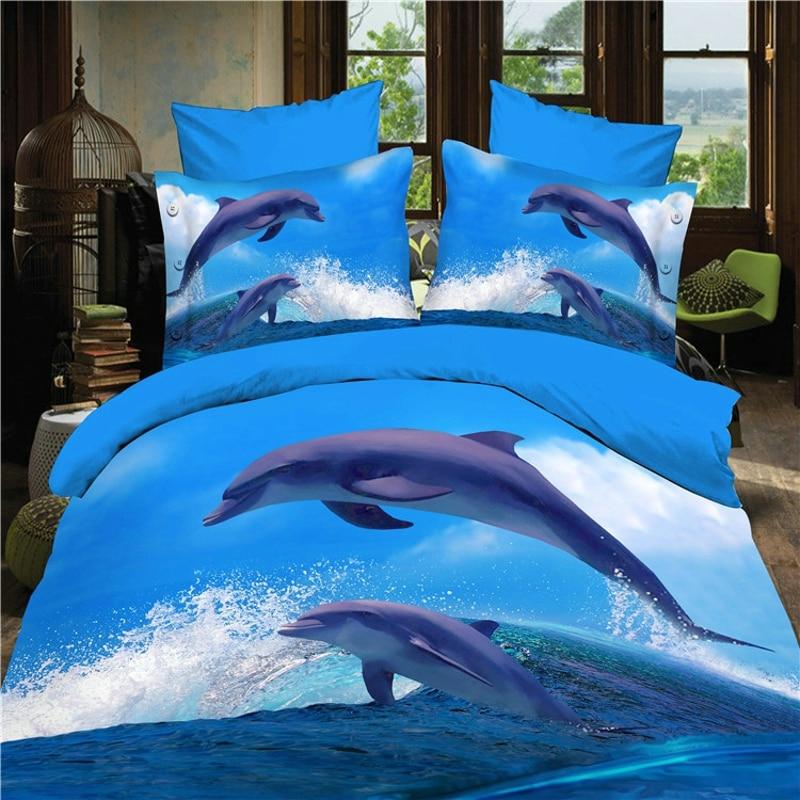 Реактивной 3d Ocean кроватка постельных принадлежностей одеяло/Doona простыней наволочки 4 шт. queen size бархатистой постельное белье