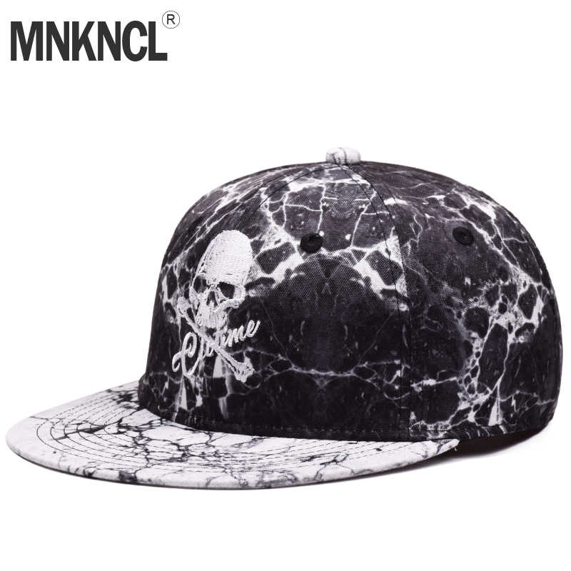 a274ef6ba60 High Quality Skull Embroidery Baseball Caps Hip Hop Snapbacks Flat Brim  Bones Gorra Sports Snapback Caps