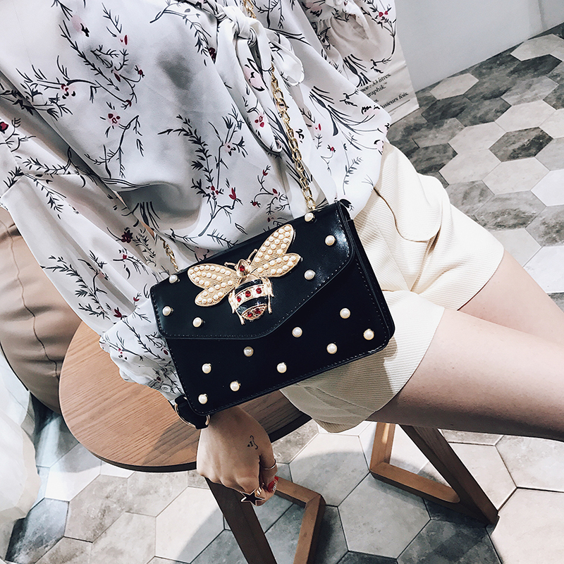 BENVICHED Women Brand Desinger Rhinestones Bee PU Leather Shoulder Bag Small Crossbody Bag Chain For Girls Ladies Bag Bolso L020