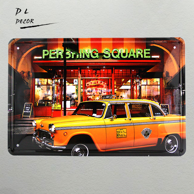 DL-PERSHING SQUARE painting Antique Metal Art Tin Sign Home Club Wall Decor