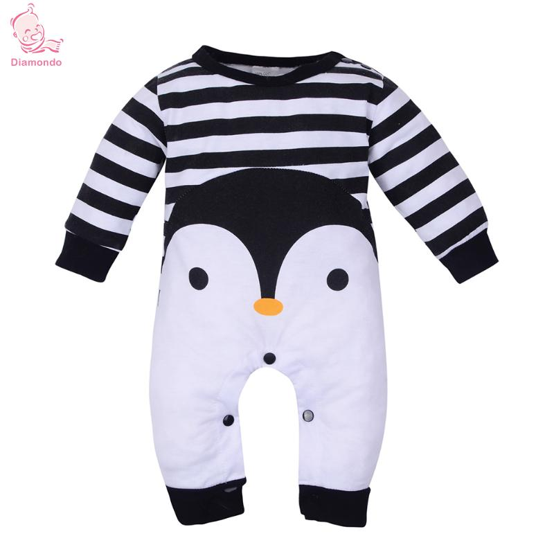 Autumn Winter Baby Long Sleeve Clothes Rompers Cartoon Cotton Penguin Animal Striped Jumpsuit Romper for Newborn Baby 2018 New he hello enjoy baby rompers long sleeve cotton baby infant autumn animal newborn baby clothes romper hat pants 3pcs clothing set