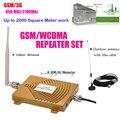 Hot! Conjunto completo GSM 900 Mhz + 3G W-CDMA 2100 MHz Mini Dual Band Signal Booster, 2G 3G GSM Telefone Celular Repetidor de Sinal Com Antena