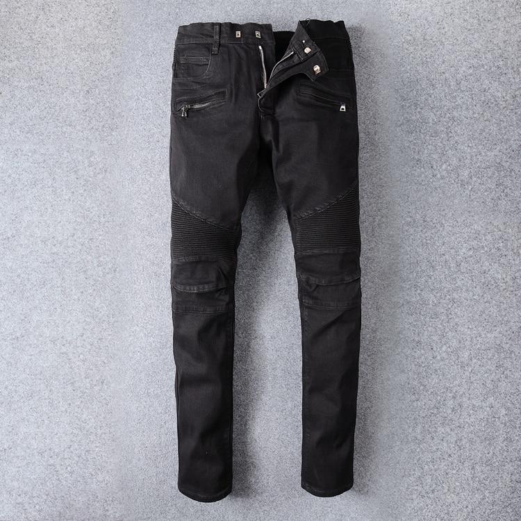 New Famous Brand Designer Mens Ripped Biker Jeans 100% Cotton Black Slim Fit Motorcycle Jeans Men Vintage Distressed Denim Pants