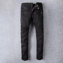 New Famous Brand Designer Rasgado Mens Motociclista Jeans 100% Algodão Preto Slim Fit calças de Brim Da Motocicleta Homens Do Vintage Calças Jeans Angustiados
