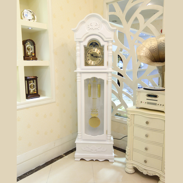 European Style Living Room Floor Watch White Wood Carving Fashion Feng Shui Copper Mechanical Clock
