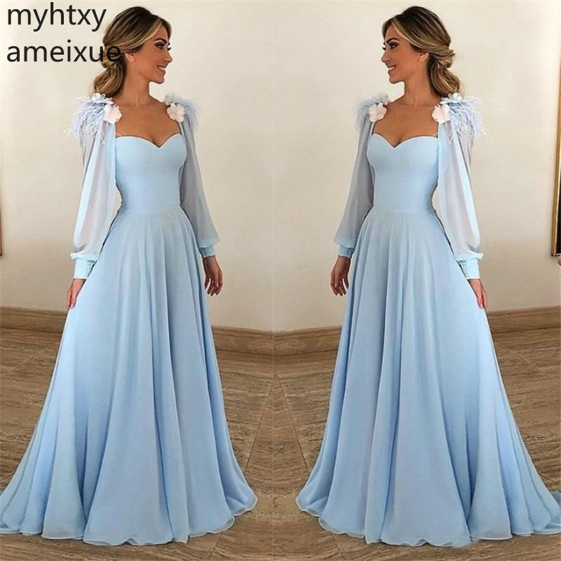 US $69.0 50% OFF|Hand Made Flower Baby Blue Evening Dress Sweetheart Long  Sleeves A Line Chiffon Prom Gown Plus Size Evening Dress Robe De Soiree-in  ...