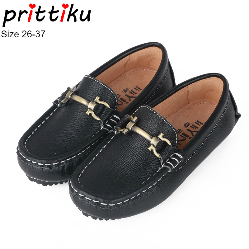 Toddler Boys Girls Genuine Leather Loafers Little Kid Casual Metallic Buckle Boat Flats Big Children School Uniform Dress Shoes