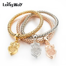 Elastic Bracelets & Bangles Fashion Real Gold Silver Plated Charm For Women Cute Owl Crystal Jewelry SBR150162