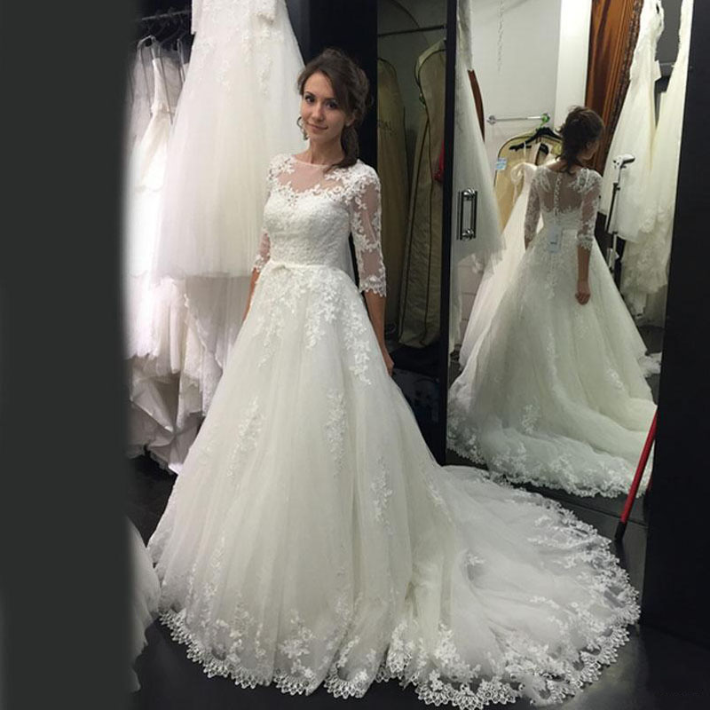 Buy vintage 2017 lace a line wedding 3 4 sleeve wedding dress a line
