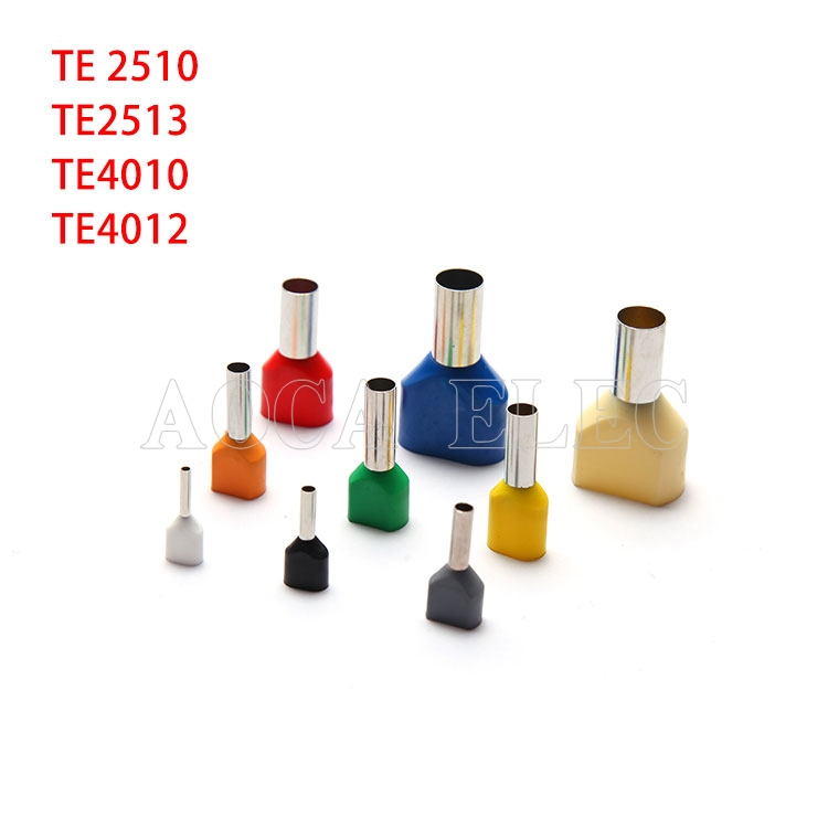 100PCS TE2510 TE2513 TE4010 Double Tube Type Pre Insulated Splicel Cold Pressed Terminal Two Line Connection Wiring Copper Nose
