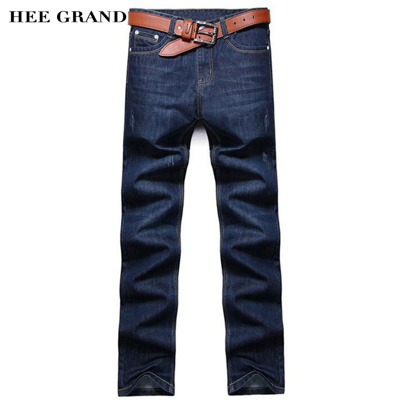 Men's Jeans Without Belt 2017 Thick Straight Slim Casual Cotton Jeans Dark Blue Color 28-38 Size MKN414