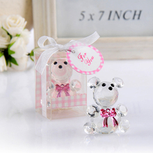 50Pcs Free Shipping Mini Bear Crystal Baby Shower Boy Girl Baptism Party Souvenir Newborn Baby Gift Box Crystal Wedding Favors