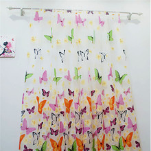 Hot Butterfly Tulle Window Screens Sheer Voile Door Curtains Drape Panel Assorted Curtain