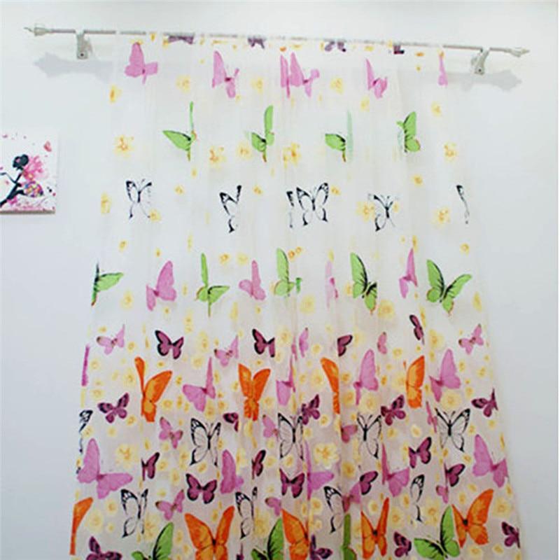 Kupu-kupu Tirai Tulle Jendela Layar Voile Tipis Tirai Pintu Menggantungkan Panel Aneka Tirai Untuk Kamar Untuk Ruang Tamu
