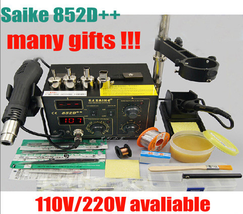 220V/110V Saike 852D++ Hot Air Rework Station soldering station BGA De-Soldering 2 in 1 with Supply air gun rack ,and many gifts dhl free saike 852d iron solder soldering hot air gun 2 in 1 rework station 220v 110v many gifts