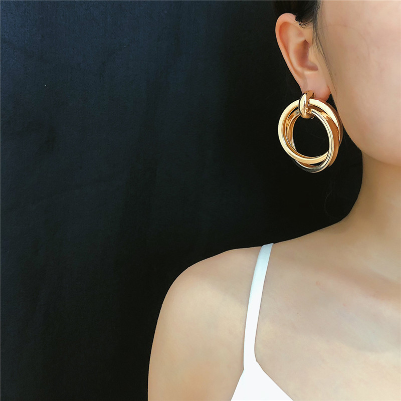 Personality Creative Double Round Circles Twist Drop Earrings Women 2019 New Big Statement