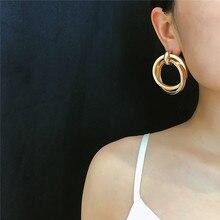 Personality Creative Double Round Circles Twist Drop Earrings Women 2019 New Big Statement Earrings цена 2017