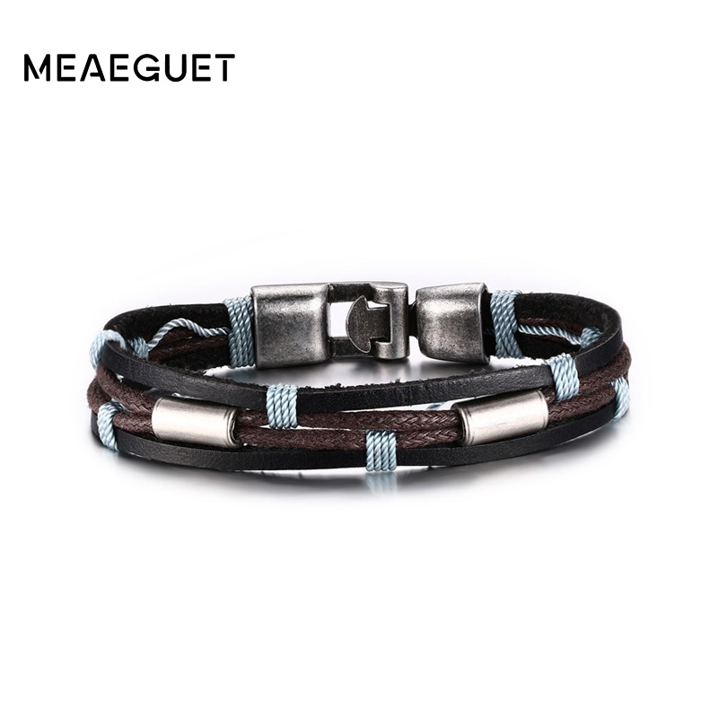 Meaeguet Vintage Punk Street Style Jewelry Braided Rope Charm Bracelet Men Black/Brown Layered Genuine Leather Bracelet